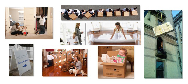 collage image of NouvelleView team moving boxes and setting up a home interior, all part of their luxury moving services